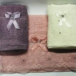 Фото  товара Кухонные полотенца кружево-бантик