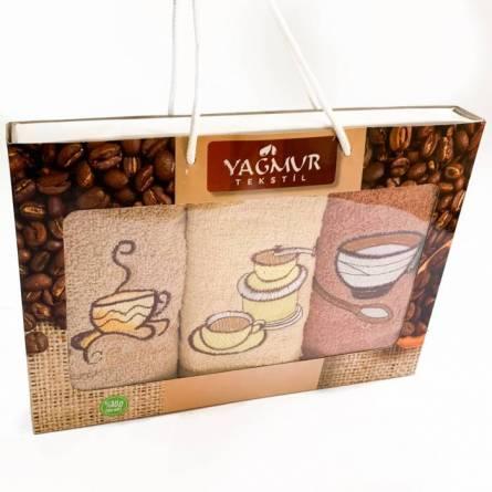 Набор полотенец кофе 3-ка - фото 1