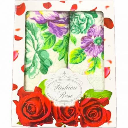 Набор полотенец цветы кант - фото 1