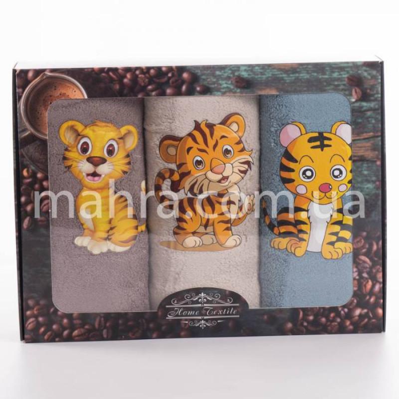 Набор полотенец микрофибра Тигр наклейка - фото 1
