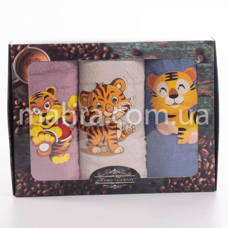 Набор полотенец микрофибра Тигр наклейка - фото 2