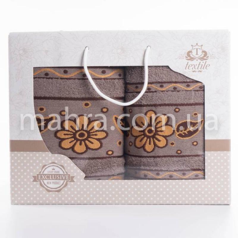Набор полотенец коричневая ромашка - фото 1