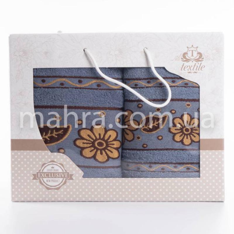 Набор полотенец коричневая ромашка - фото 4