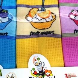 Фото  товара Набор кухонных вафельных полотенец Йогурт