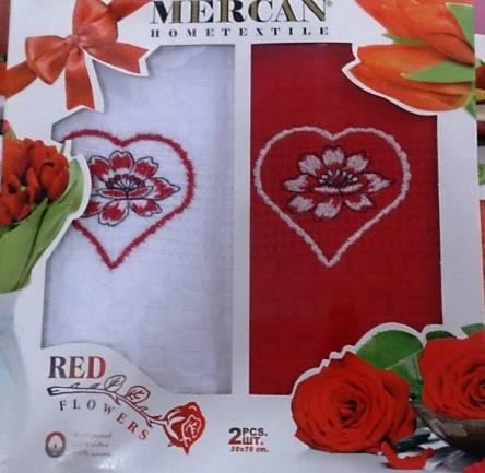 Набор вафельных кухонных полотенец Red Flowers - фото 1